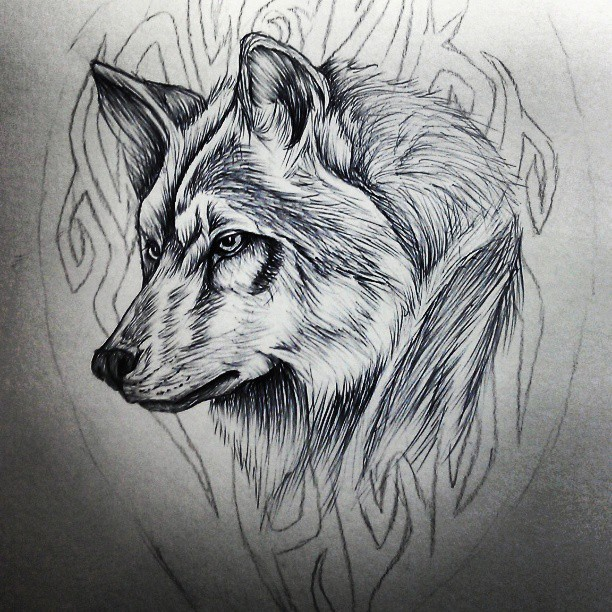 c459e25ed61a4 Amazing Tribal Wolf Head Tattoo Design