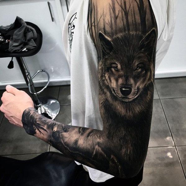 Black Ink Wolf Tattoo On Full Sleeve