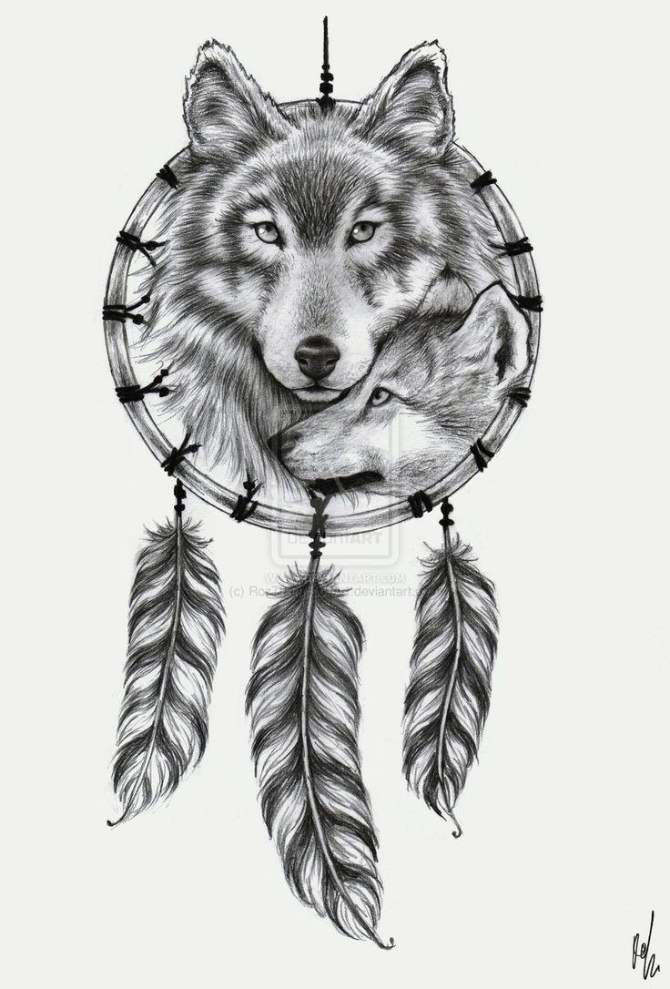 Dreamcatcher With Wolf Tattoo Design
