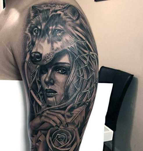 Girl With Wolf Head Tattoo On Half Sleeve