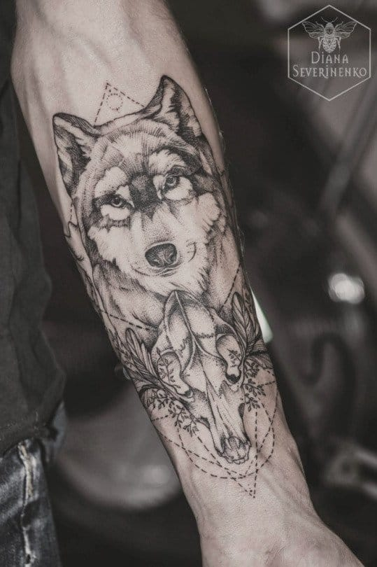 Geometric Wolf Head Tattoo On Arm Sleeve
