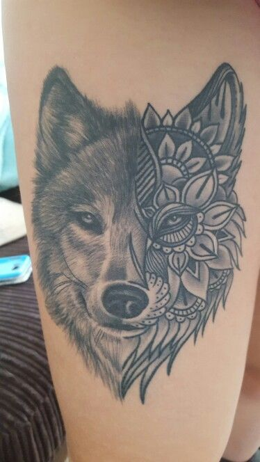 Grey Ink Mandala Wolf Head Tattoo On Thigh
