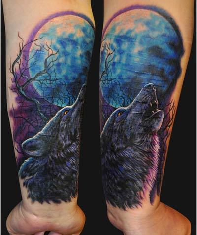 Howling Wolf Tattoo On Forearm