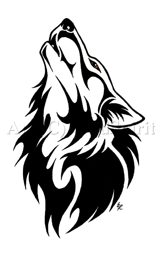 Howling Wolf Tribal Head Tattoo Design