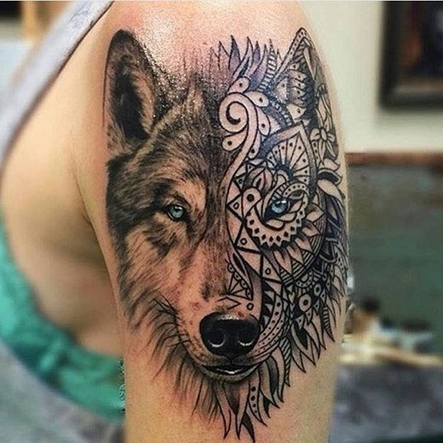 Mandala Face Wolf Head Tattoo On Left Shoulder
