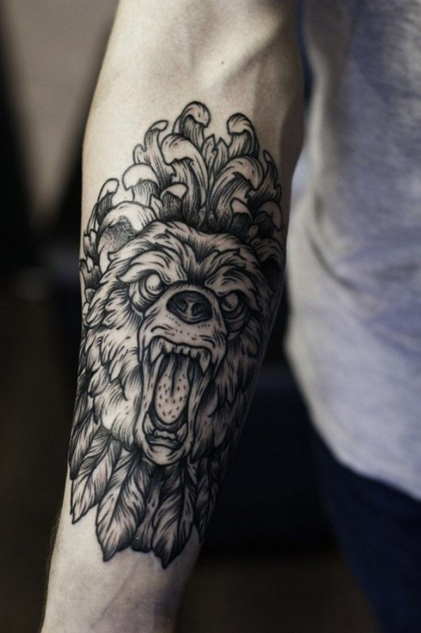 Right Forearm Angry Wolf Head Tattoo
