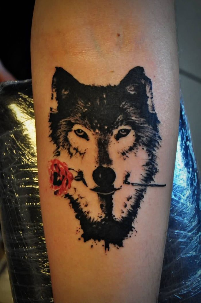 Wolf With Rose Tattoo On Left Forearm