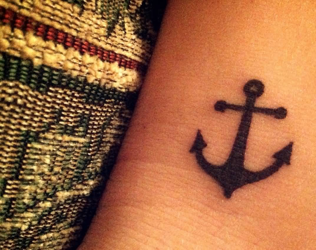 Black Anchor Tattoo On Side Leg