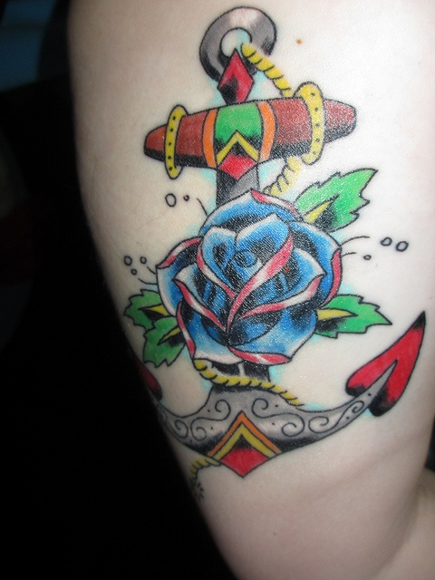 Anchor Tattoo Images & Designs Traditional Blue Rose Tattoo