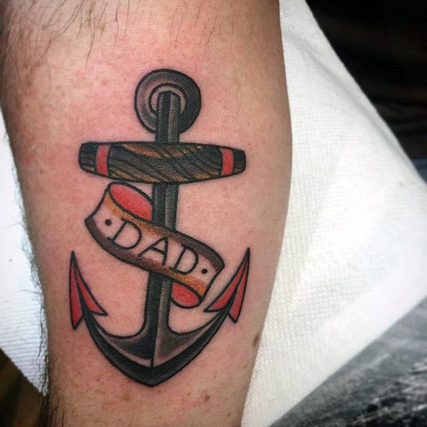 Dad Banner And Anchor Tattoo On Leg