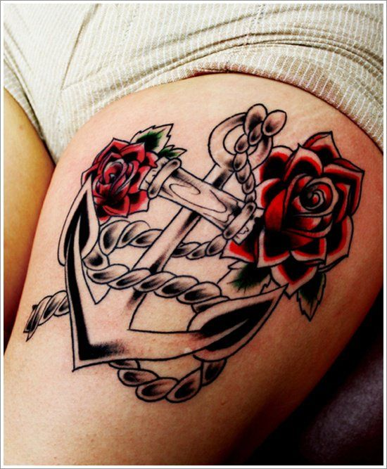 af93229a4 Red Roses With Grey Anchor Tattoo On Left Thigh