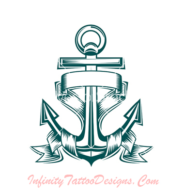 Ribbons And Anchor Tattoo Design