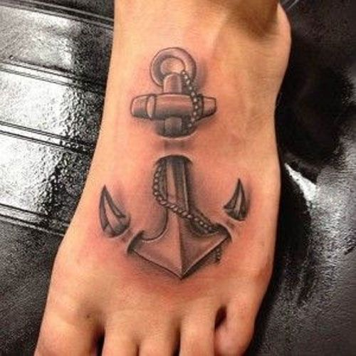 Ripped Skin Anchor Tattoo On Left Foot
