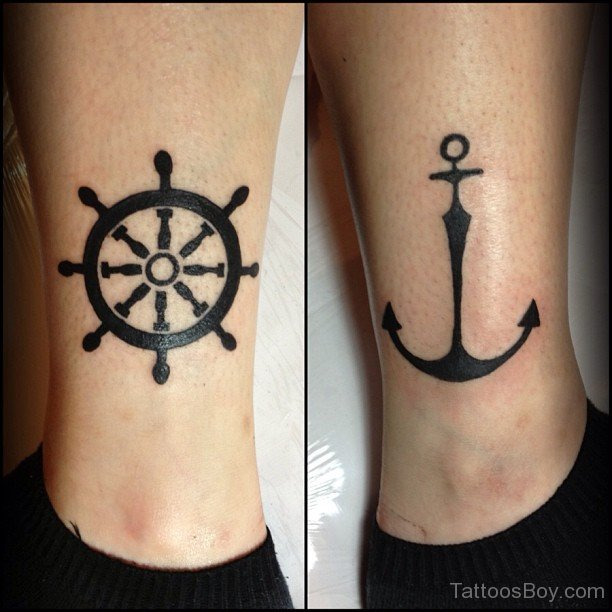 Anchor And Sailor Tattoo On Man Chest
