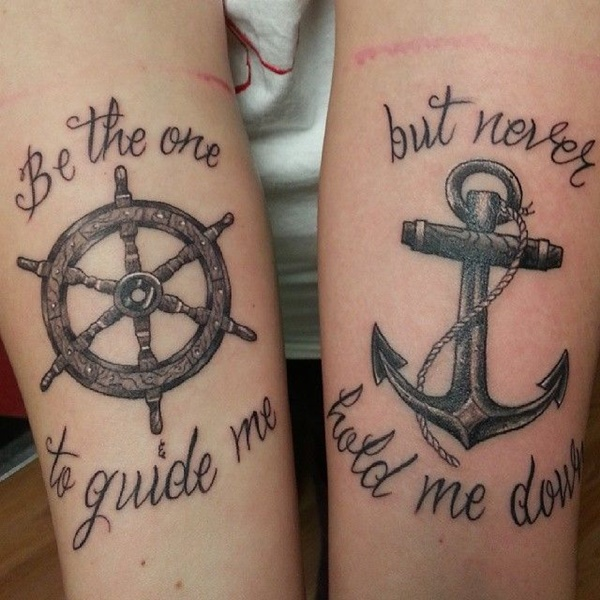 Sailor wheel and anchor tattoos on both sleeves for Anchor and wheel tattoo
