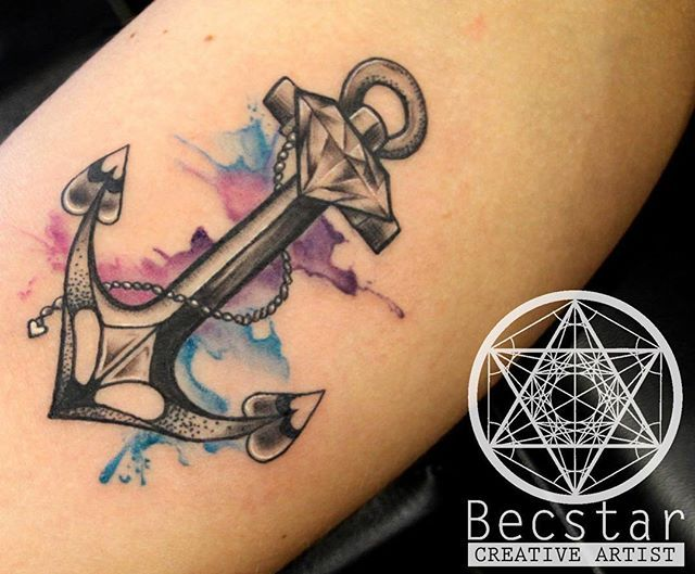 dc234fa3d Watercolor Anchor Tattoo On Arm Sleeve