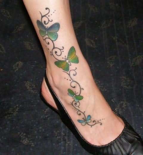 Four Butterflies Tattoo On Leg