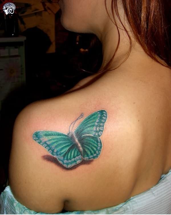 Light blue butterfly tattoo on shoulder for Images of butterfly tattoos