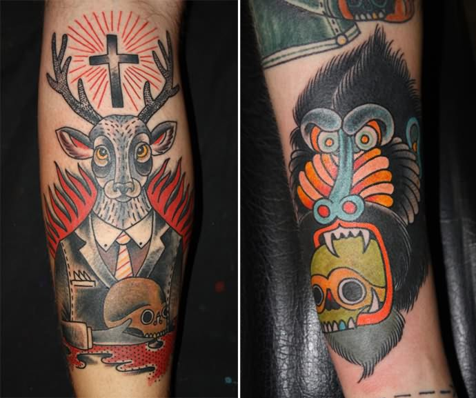 Black Deer And Cross Tattoo