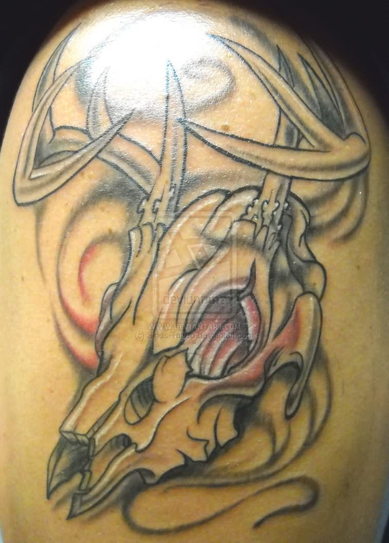 Deer Skull Tattoo On Back For Men