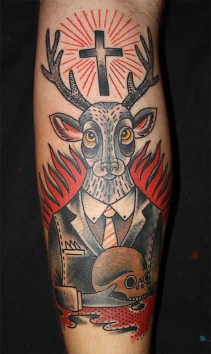 Traditional Style Deer Tattoo