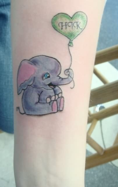 Tiny elephant and heart tattoo for Tiny elephant tattoo