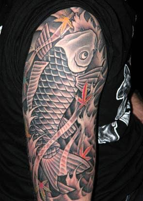 Black Koi Fish Tattoo On Arm