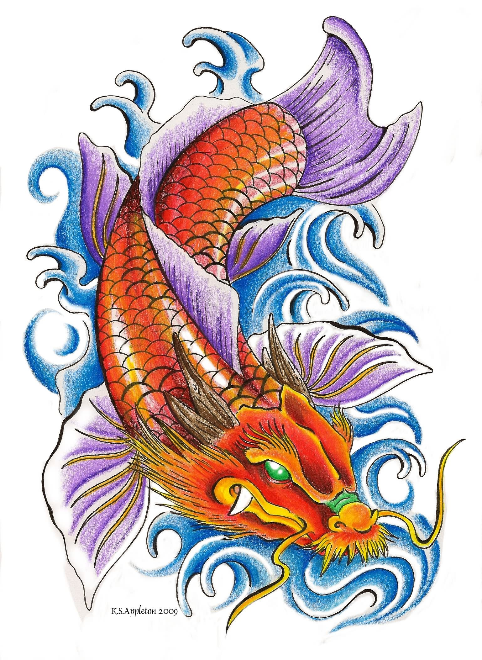 dragon and koi fish tattoo sample. Black Bedroom Furniture Sets. Home Design Ideas