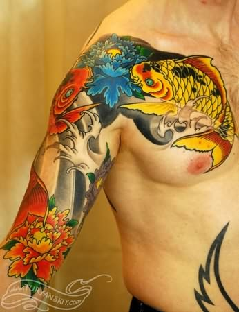 Koi Fish Tattoo On Chest And Arm