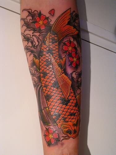 Wonderful Orange Koi Fish Tattoo