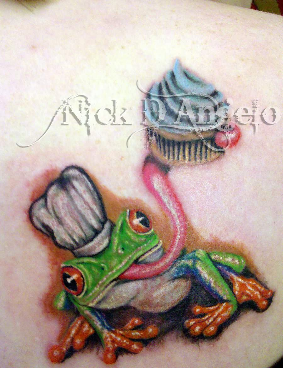 Realistic Frog With Cupcake Tattoo