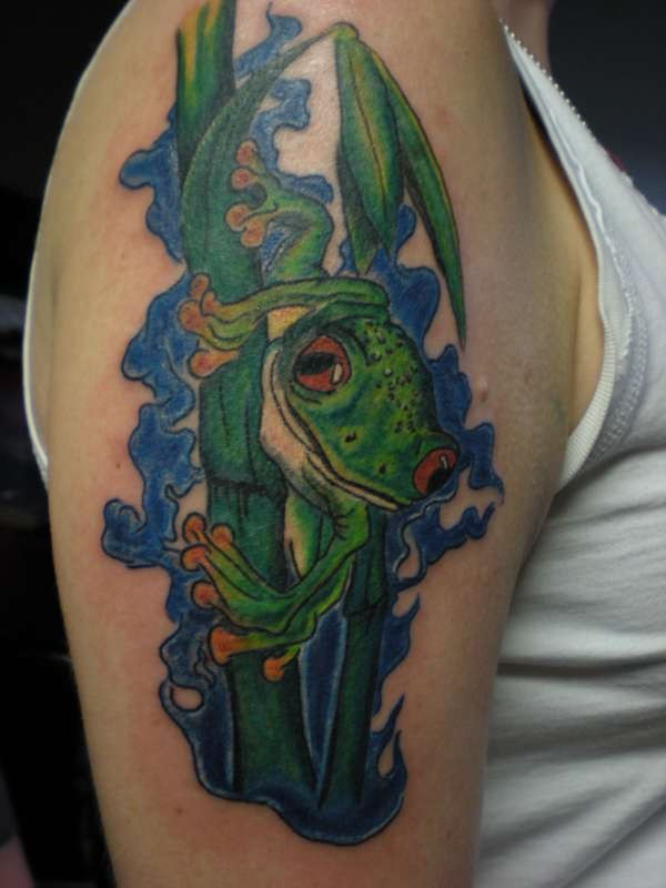 Water And Frog Tattoo On Bicep