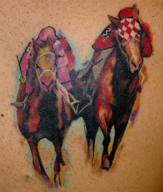 abstract race horse tattoo. Black Bedroom Furniture Sets. Home Design Ideas