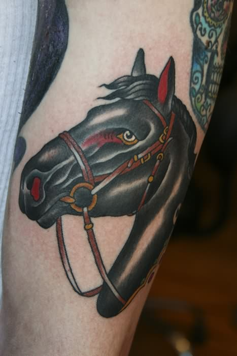 Horse Black Head Tattoo
