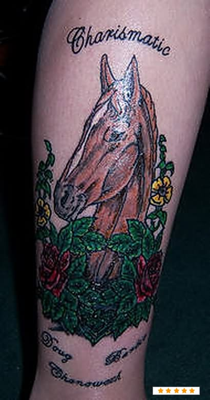 Horse Head In Flowers Tattoo