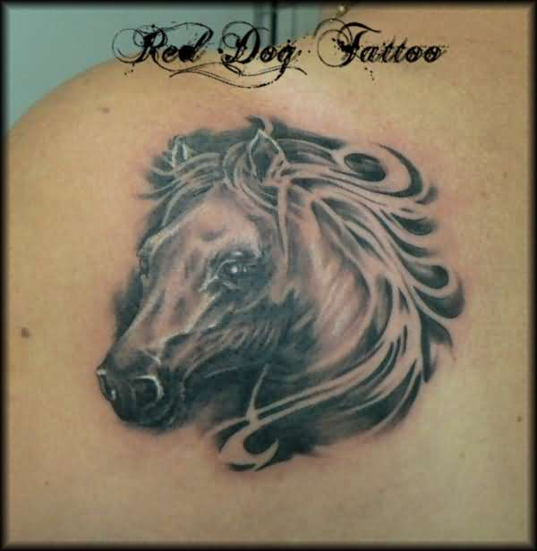Horse horseshoe tattoo images designs for Horse head tattoo designs
