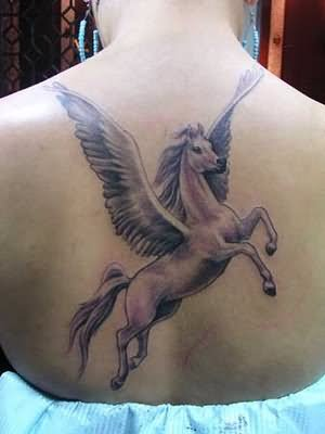 horse with wings tattoo on back. Black Bedroom Furniture Sets. Home Design Ideas