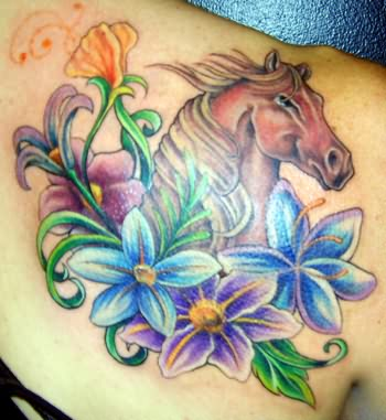 Horse horseshoe tattoo images designs for Flower vine tattoo images
