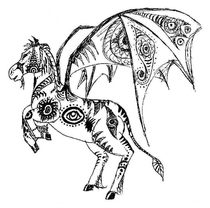 rearing unicorn tattoo