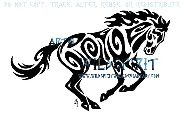 Tribal Running Horse Tattoo by Tattoostime