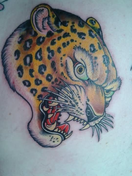 Coloured Leopard Head Tattoo