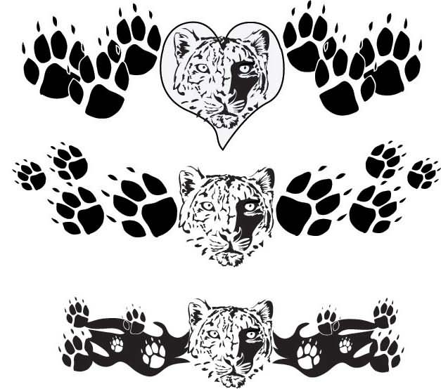 Leopard & Paw Prints  Tattoos