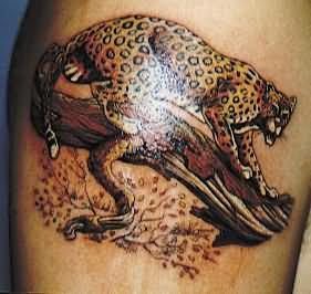 Tiger On Tree Tattoos