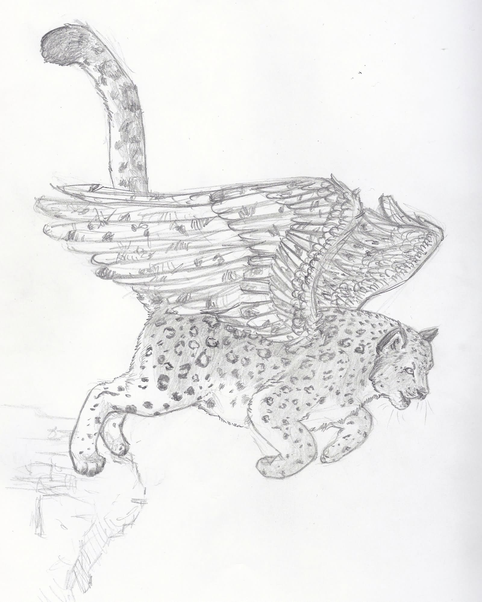Winged SNow  Leopard Tattoo Design