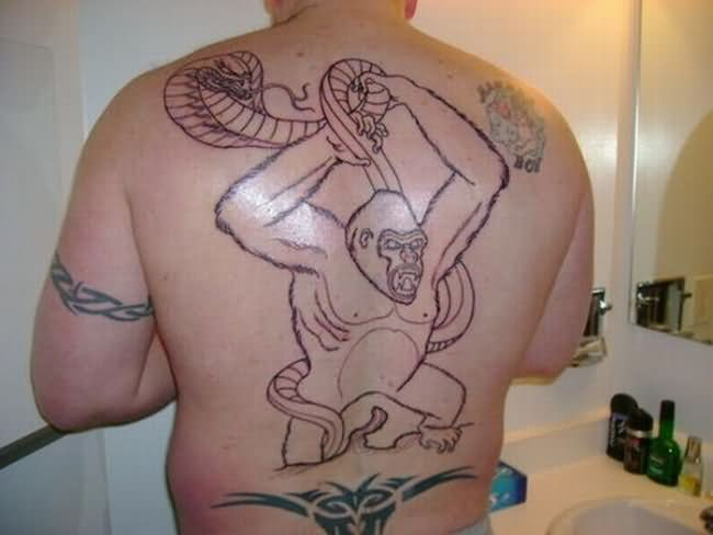 monkey-and-snake-fight-tattoo - Amazing tattoos - Weird and Extreme