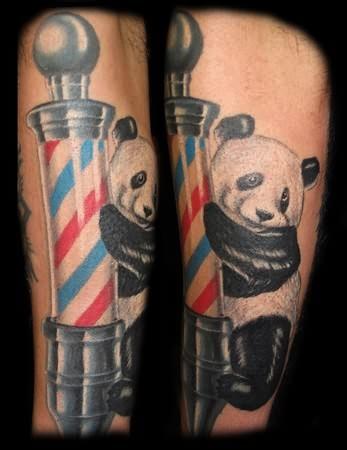 Barber Pole Tattoo : Panda Barber Pole Tattoo
