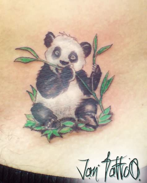 panda eating leafs tattoo. Black Bedroom Furniture Sets. Home Design Ideas