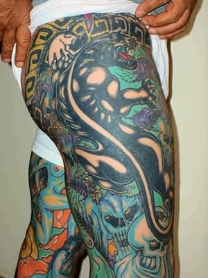 Black Panther Tattoo On Thigh