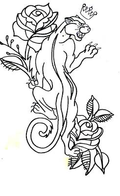 Traditional Flower And Panther Tattoo Design