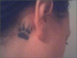 Drowning|| loseing every last breath. Bear-paw-tattoo-behind-ear